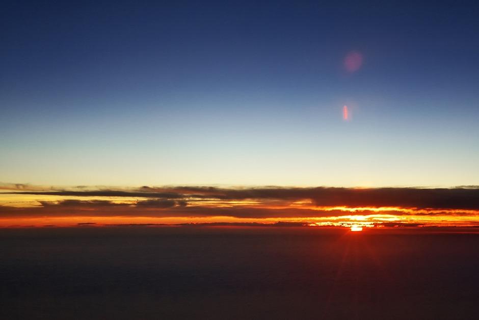 Poslední paprsky slunce nad Atlantikem