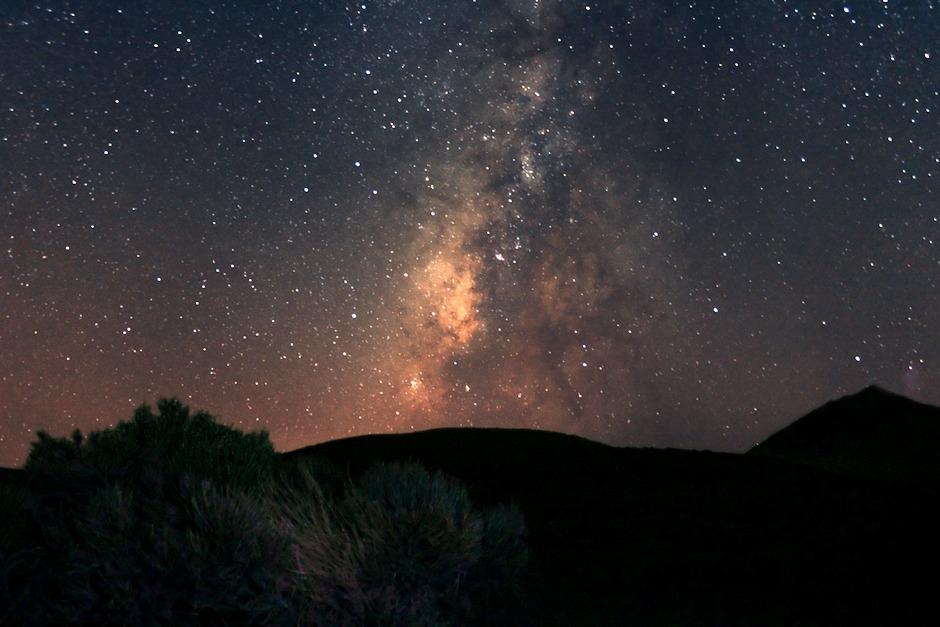Střed Mléčné dráhy ve Střelci nad parkem Teide z vyhlídky Corral del Niňo