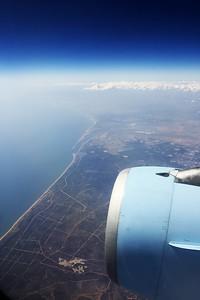 Španělsko, pobřeží u města Huelva (přibližně uprostřed).