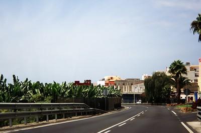 Banánová plantáž u silnice v Armeňime. Takhle vypadá v těch nižších polohách na Tenerife většina silnic.