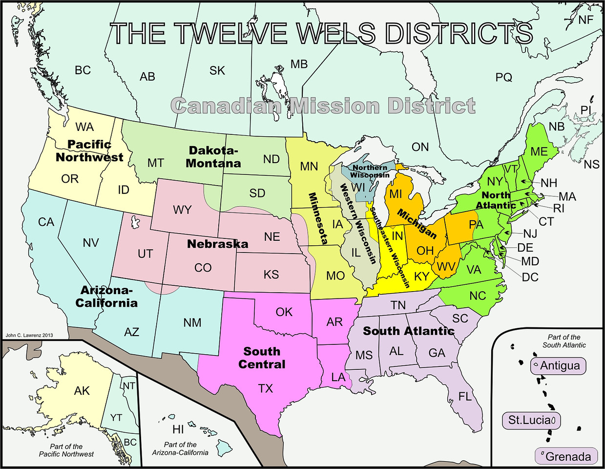 Twelve WELS Districts and Canadian Mission District Map