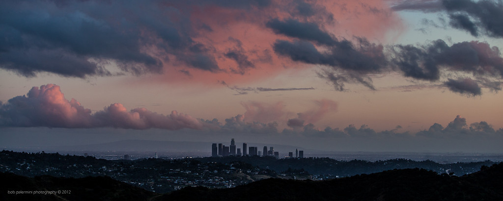 The Los Angeles skyline from Glendale, California after a spring rain storm. These were the real colors. No enhancing, no Photoshop.