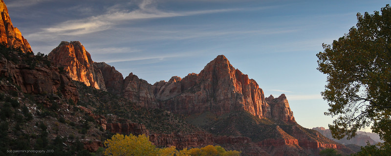 2560x1080 desktop wallpaper, free for you to use, Creative Commons 3 (Attribution-NonCommercial-ShareAlike). Sunset at Zion National Park, Utah, 2010.