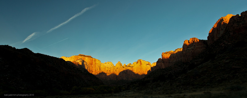 2560x1024 desktop wallpaper, free for you to use, Creative Commons 3 (Attribution-NonCommercial-ShareAlike). Sunrise at Zion National Park, Utah, 2010.