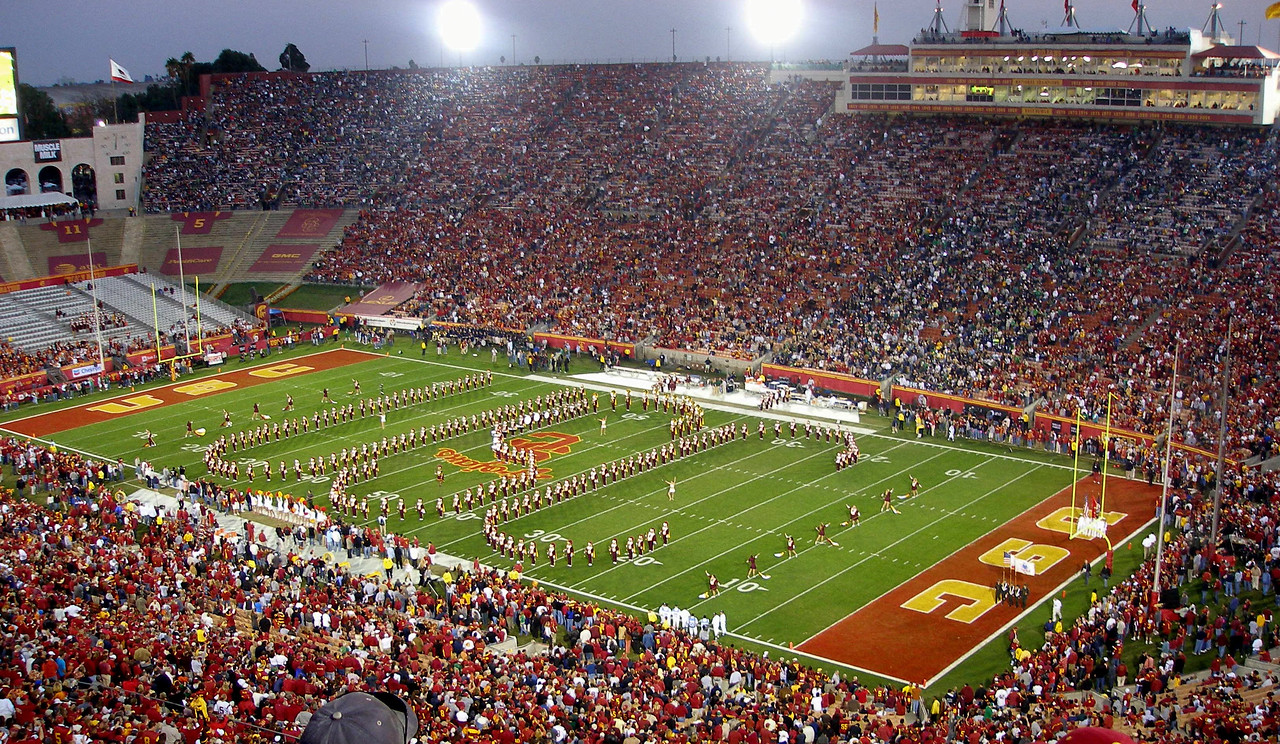 The Trojan Marching Band on the field at the Los Angeles Memorial Coliseum get the crowd going at the start of the 2006 USC vs. #6 ranked Notre Dame football game. USC won 44-24 beating ND for the 5th straight year.