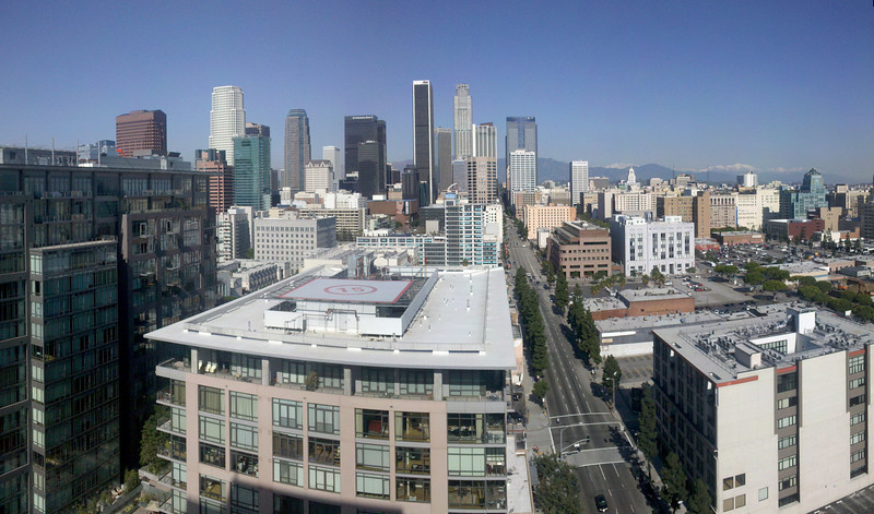Downtown Los Angeles from Evo, a newer condo building. Shot on my Motorola Droid phone, 3 or 4 image pano.