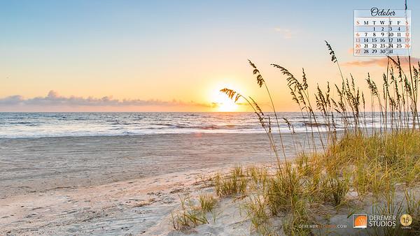2019 Calendar - Amelia Island FL 10 October - Deremer Studios LLC