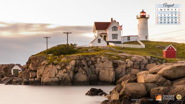 2019 Calendar - Lighthouses 08 August - Deremer Studios LLC