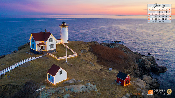 2019 Calendar - Lighthouses 01 January - Deremer Studios LLC