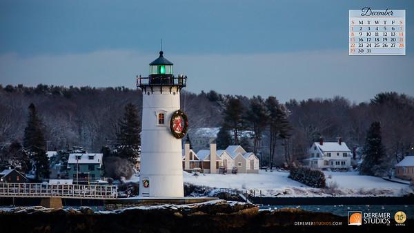 2019 Calendar - Lighthouses 12 December - Deremer Studios LLC