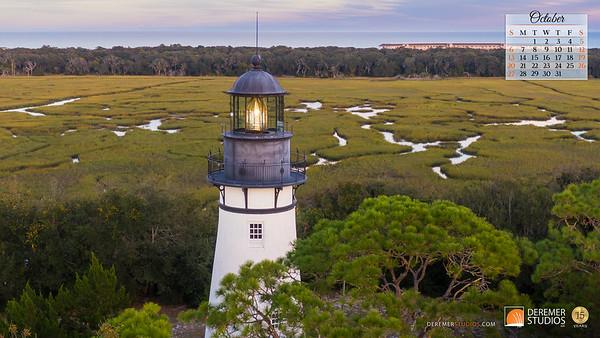 2019 Calendar - Lighthouses 10 October - Deremer Studios LLC