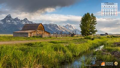 2019 Calendar - National Parks 11 November - Deremer Studios LLC