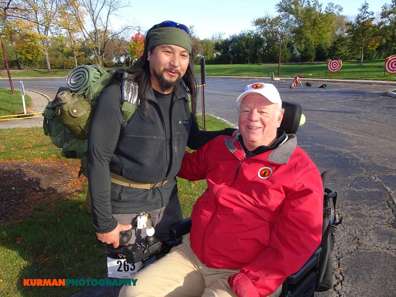 Carmelo Aguinir (Joliet) vet of Afghanistan with E. Q. Sylvester, Freedom Golf Association