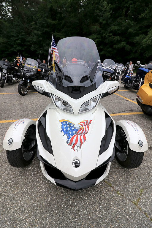 """. The Middlesex GWOT (Global War on Terror) held a funraiser motorcycle \""""Freedom Ride\"""" to raise money for their Global War on Terror Veterans Monument that will be put up near the rotary in Pepperell. They need $200,000 for the monument. They only need $50,000 more to start work on it. At the ride they hoped  to raise $5,000 for the day. The ride was just over 80 miles and ended where it started at the Pepperell VFW. This was one of the very unique bikes that was going to take place in the ride on Saturday. SENTINEL & ENTERPRISE/JOHN LOVE"""