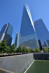 Looking back at the Freedom Tower, across the north Reflection Pool Memorial.