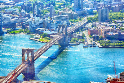 The Brooklyn Bridge as seen from the Freedom Tower Observation Deck (HDR)