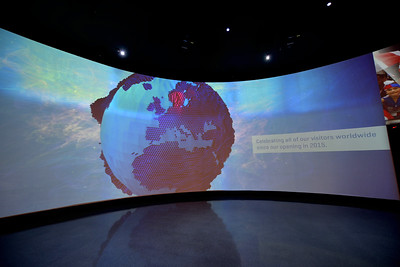 Once through security, visitors are led through a gallery of multi-media presentations.