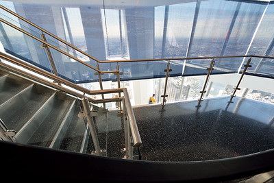 Stairway to Observatory Level.  First views of the city surrounding you.