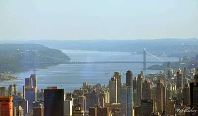 The George Washington Bridge connecting New Jersey to Manhattan.  This is the bridge that Capt. Sully Sullenberger flew over to land US Airways  flight 1549 safely in the Hudson River..