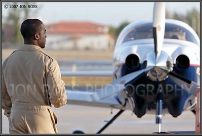 Barrington Irving preparing for his solo flight around the worldOPF Airport | Opa Locka, FL Canon EOS 20D | Canon EF 70-200mm f/2.8 L IS USM | EF 1.4x II Extender1/200s | f/4.5 @ 190mm | EC +2/3 | ISO 100