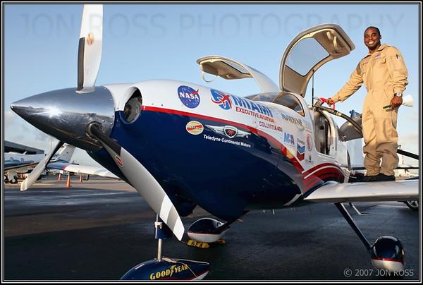 Barrington Irving preparing for his solo flight around the worldOPF Airport | Opa Locka, FL Canon EOS 5D | Canon EF 24-70mm f/2.8 L USM | Canon 580EX Speedlight1/200s | f/7.1 @ 24mm | ISO 200