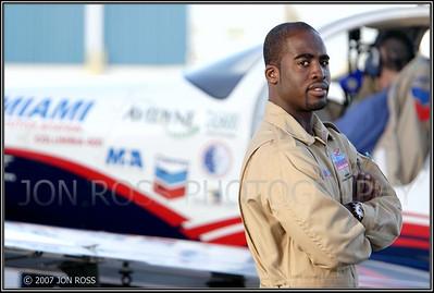 Barrington Irving preparing for his solo flight around the worldOPF Airport | Opa Locka, FL Canon EOS 20D | Canon EF 70-200mm f/2.8 L IS USM | EF 1.4x II Extender1/160s | f/4 @ 220mm | EC +2/3 | ISO 100