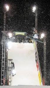 LJ Stenio (Salt Lake City) of Team Line goes big in his final jump at the Nature Valley Big Air Challenge part of the Denver Big Air presented by Sprint. Photo: Tom Kelly/USSA