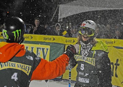 Team Armada's Alex Bellemare and Spencer Milbocker high-five at the Nature Valley Big Air Challenge part of the Denver Big Air presented by Sprint. Photo: Tom Kelly/USSA
