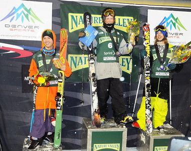 Team Armada took the win in the Nature Valley Big Air Challenge part of the Denver Big Air presented by Sprint. From left: Spencer Milbocker, Ben Moxham and Alex Bellemare. Photo: Tom Kelly/USSA