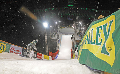 Dropping in off the 106-foot high jump at the Nature Valley Big Air Challenge part of the Denver Big Air presented by Sprint. Photo: Tom Kelly/USSA