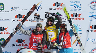 FIS World Cup Ushuaia, Argentina. Women's podium: 1. Keri Herman (USA) 2. Eveline Bhend (SUI) 3. Dara Howell (CAN). (Steele Spence/AFP)