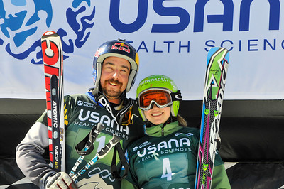 John Teller (Mammoth Lakes, CA) and Madeline Riffel (Mammoth Lakes, CA) won U.S. titles at the USANA Skicross during the Sprint U.S. Grand Prix at Canyons Resort. (U.S. Freeskiing - Tom Kelly)