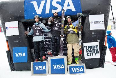 Kevin Rolland, Gus Kenworthy and David Wise Halfpipe finals 2015 Visa U.S. Freeskiing Grand Prix at Park City Mountain Resort, Park City, Utah. Photo: USSA