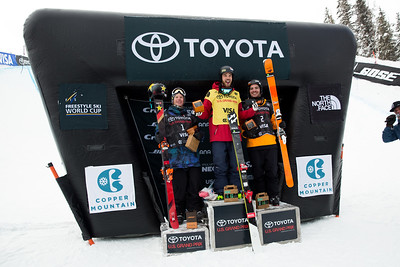 Aaron Blunck, Kevin Rolland and Benoit Valentin 2016 Toyota U.S. Grand Prix - Copper, CO Halfpipe skiing finals Photo: U.S. Freeskiing