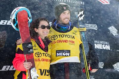 Marie Martinod and Kevin Roland FIS leaders Halfpipe skiing finals 2017 Toyota U.S. Grand Prix - Freeskiing at Mammoth Mountain, CA Photo: U.S. Freeskiing