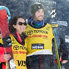 Marie Martinod and Kevin Roland FIS leaders<br /> Halfpipe skiing finals<br /> 2017 Toyota U.S. Grand Prix - Freeskiing at Mammoth Mountain, CA<br /> Photo: U.S. Freeskiing