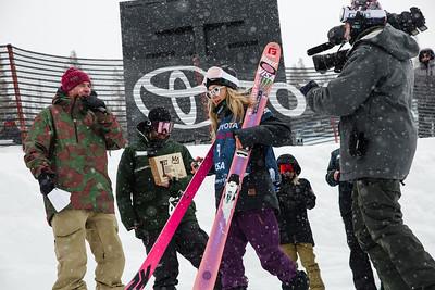 Maggie Voisin Slopestyle skiing finals 2017 Toyota U.S. Grand Prix - Freeskiing at Mammoth Mountain, CA Photo: U.S. Freeskiing