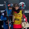 Ayana Onozuka and Marie Martinod (not pictured: Maddie Bowman, 2nd)<br /> Halfpipe skiing finals<br /> 2017 Toyota U.S. Grand Prix - Freeskiing at Mammoth Mountain, CA<br /> Photo: U.S. Freeskiing