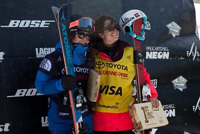 Ayana Onozuka and Marie Martinod (not pictured: Maddie Bowman, 2nd) Halfpipe skiing finals 2017 Toyota U.S. Grand Prix - Freeskiing at Mammoth Mountain, CA Photo: U.S. Freeskiing