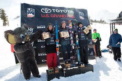 Taylor Seaton, Torin Yater-Wallace, Gus Kenworthy Halfpipe skiing finals 2017 Toyota U.S. Grand Prix - Freeskiing at Mammoth Mountain, CA Photo: U.S. Freeskiing