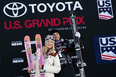 Maggie Voisin and Gus Kenworthy AFP Freeski slopestyle finals 2018 Toyota U.S. Freeskiing Grand Prix at Mammoth Mountain, CA Photo: Sarah Brunson/U.S. Ski & Snowboard