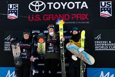 Caroline Claire, Tiril Sjaastad Christiansen and Jernnie-Lee Burmansson Freeski slopestyle finals 2018 Toyota U.S. Freeskiing Grand Prix at Mammoth Mountain, CA Photo: U.S. Ski & Snowboard