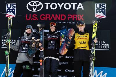 Evan McEachran, Teal Harle and Andri Ragettli Freeski slopestyle finals 2018 Toyota U.S. Freeskiing Grand Prix at Mammoth Mountain, CA Photo: U.S. Ski & Snowboard