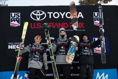 Nick Goepper, Evan McEachran and Gus Kenworthy AFP Freeski slopestyle finals 2018 Toyota U.S. Freeskiing Grand Prix at Mammoth Mountain, CA Photo: Sarah Brunson/U.S. Ski & Snowboard