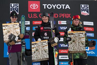 Ferdinand Dahl, Mac Forehand, Kiernan Fagan Freeski Slopestyle finals 2019 Toyota U.S. Grand Prix at Mammoth Mountain, CA Photo: U.S. Ski & Snowboard