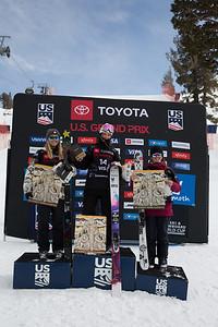 Johanne Killi, Mathilde Gremaud, Megan Oldham Freeski Slopestyle finals 2019 Toyota U.S. Grand Prix at Mammoth Mountain, CA Photo: U.S. Ski & Snowboard