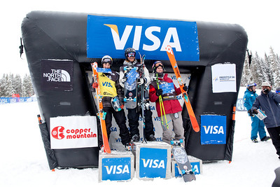 Men's podium (l-r): Nick Goepper (2nd), Andreas Haatveit (1st) and Russell Henshaw (3rd)  2013 Visa U.S. Freeskiing Grand Prix at Copper Mountain, Colorado. FIS World Cup Slopestyle freeskiing finals Photo: Sarah Brunson/U.S. Freeskiing