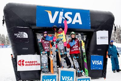 Women's podium (l-r): Darian Stevens (2nd), Dara Howell (1st) and Grete Eliassen (3rd) 2013 Visa U.S. Freeskiing Grand Prix at Copper Mountain, Colorado. FIS World Cup Slopestyle freeskiing finals Photo: Sarah Brunson/U.S. Freeskiing