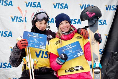 Nick Goepper and Dara Howell - FIS World Cup Leaderbib winners 2013 Visa U.S. Freeskiing Grand Prix at Copper Mountain, Colorado. FIS World Cup Slopestyle freeskiing finals Photo: Sarah Brunson/U.S. Freeskiing