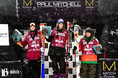 Women's slopestyle podium (l-r): Emma Dahlstrom (SWE), Keri Herman (USA) and Devin Logan (USA) 2014 Visa Freeskiing FIS World Cup in Breckenridge, CO. Photo: Sarah Brunson/U.S. Freeskiing
